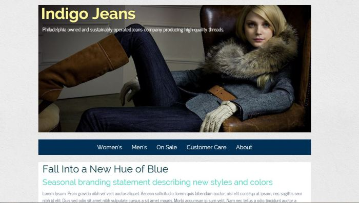Indigo Jeans home page