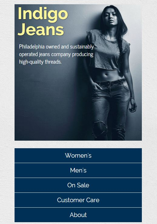 Indigo Jeans site mobile