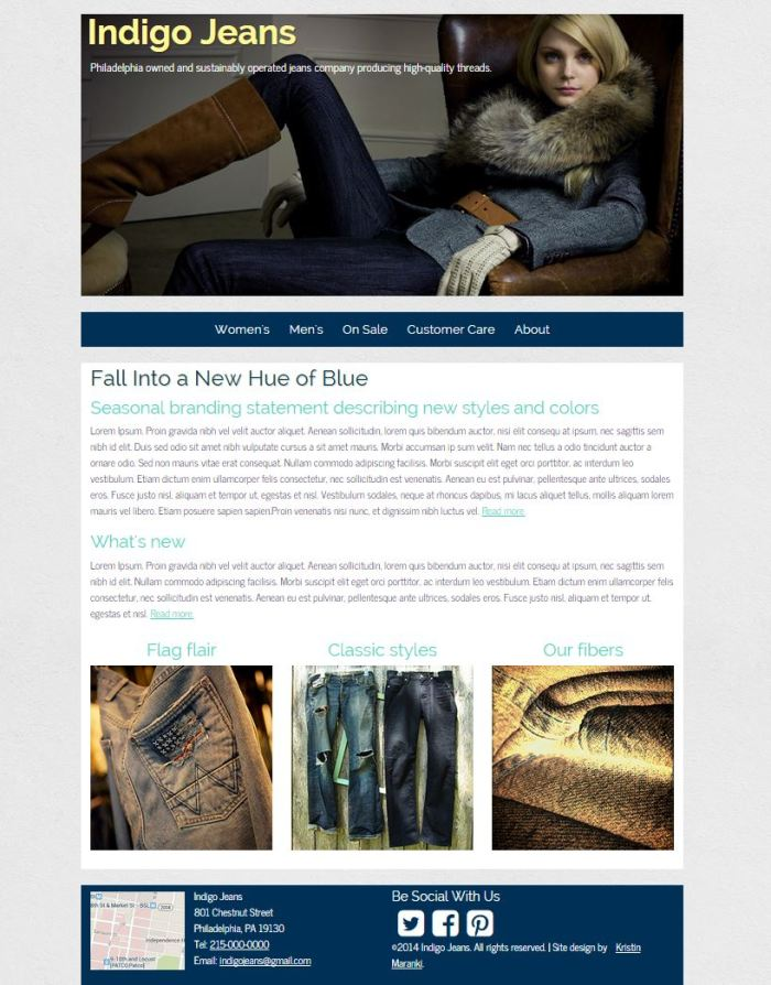 Indigo jeans responsive site