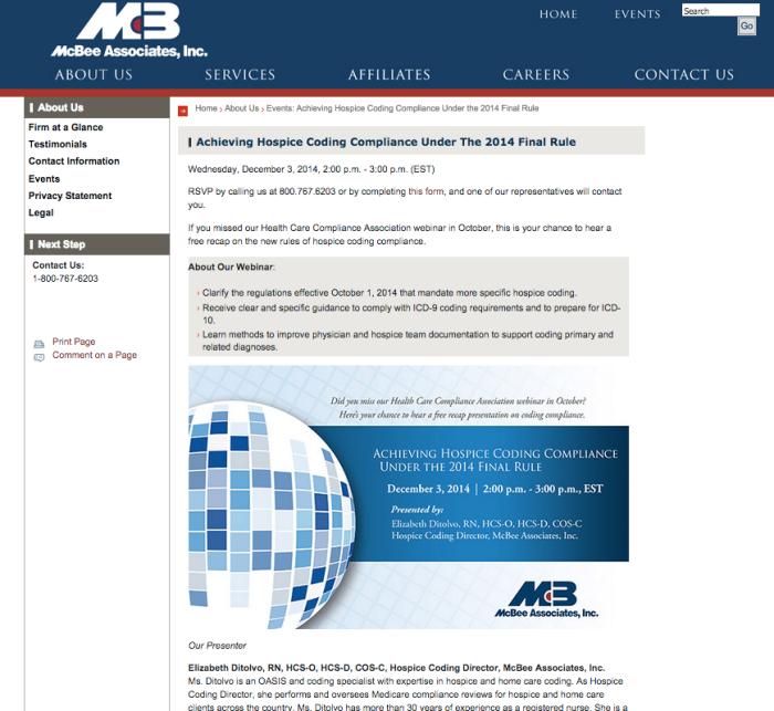 #KeysToCompliance webinar landing page