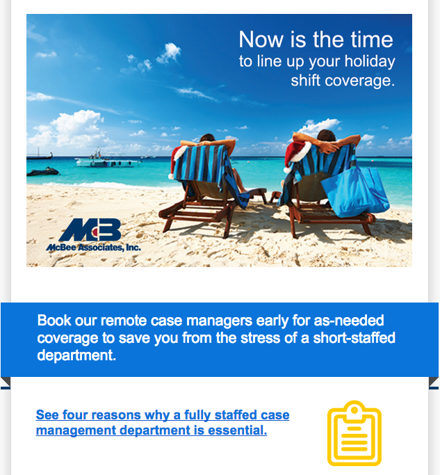 Email promoting case management vacation coverage