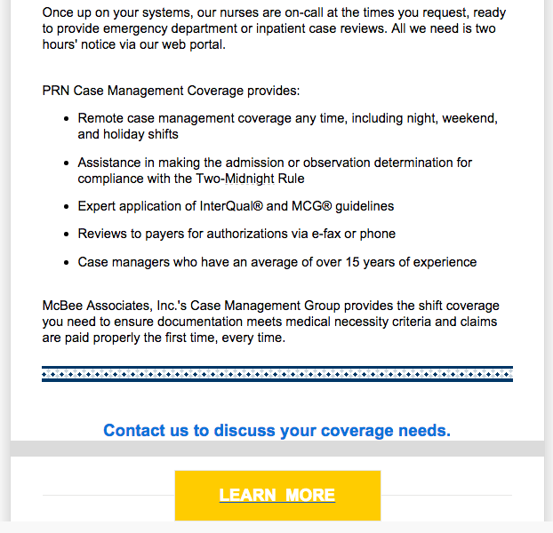 Part II: Email promoting case management vacation coverage