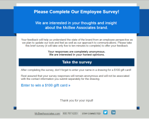 Survey sent to employees before rebrand
